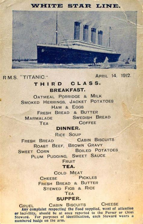titanic third class menu the first second and third class menus on the titanic