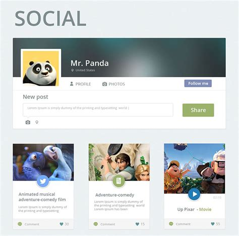 social network layout psd 80 free flat ui kits psd for mobile apps websites
