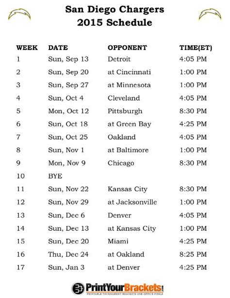 chargers schedule for 2015 1000 ideas about san diego chargers schedule on