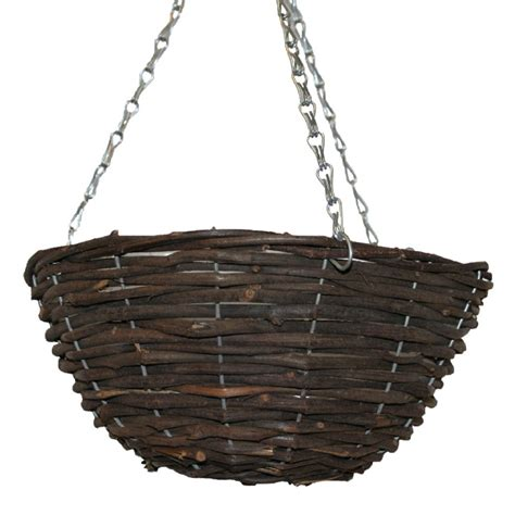 wicker hanging basket planter garden flowers