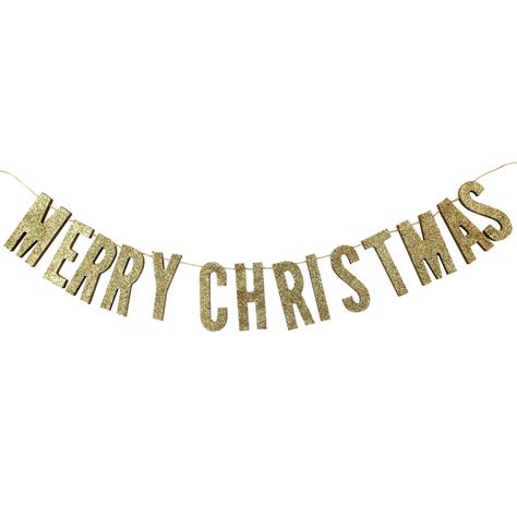 merry christmas gold glitter wooden bunting  ginger ray notonthehighstreetcom