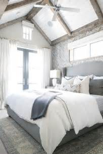 gray white bedroom gray herringbone tile accent wall transitional bedroom