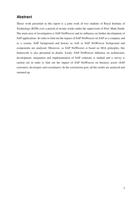 thesis abstract about business thesis report sap netweaver influence on development of