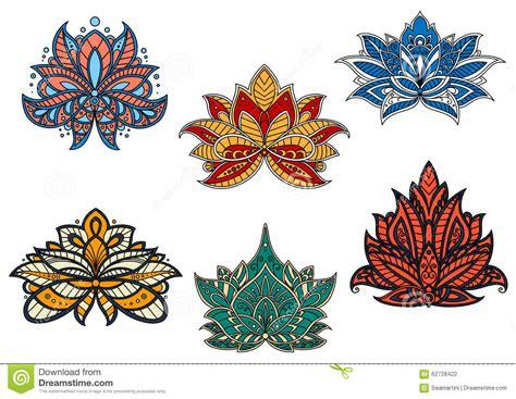 fiori indiani fiori etnici indiani e persiani di paisley illustrazione