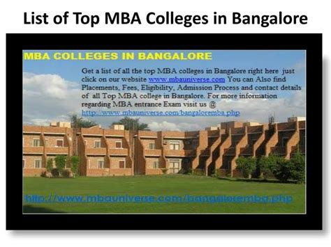 Best Mba Consultants In Bangalore by Ppt Mba Colleges In Bangalore Powerpoint Presentation