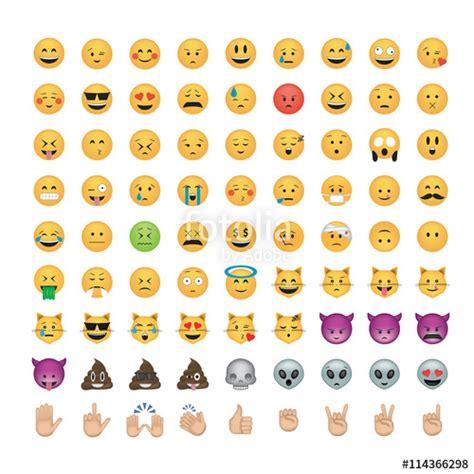 emoji web quot set of emoticon vector isolated on black background