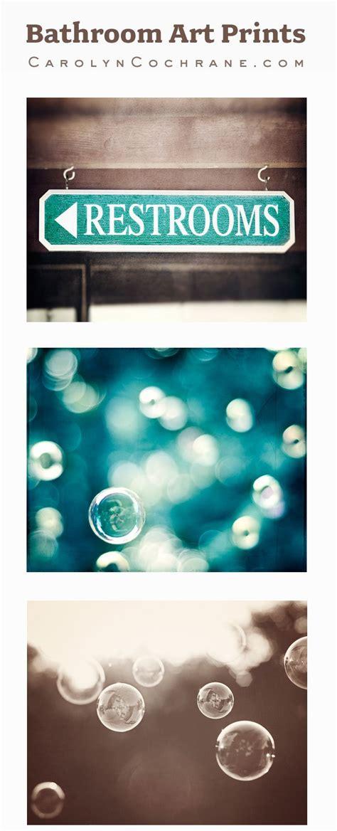Teal and brown bathroom photography art print set aqua turquoise wall decor by carolyncochrane