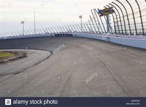 racing tracks in florida empty banked race track at daytona international speedway in daytona stock photo