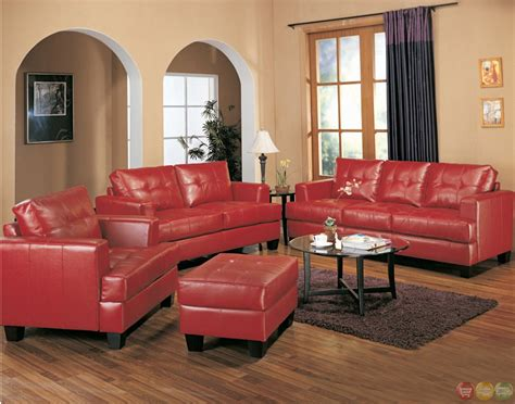 Samuel Red Bonded Leather Sofa And Love Seat Living Room Set Leather Sofa For Living Room