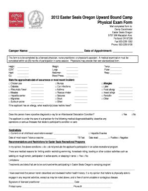 easter seals application form fillable 2012 easter seals oregon upward bound c
