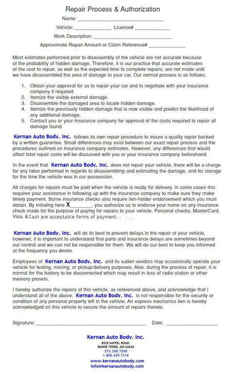 Auto Body Repair Authorization Form L Kernan Auto Body Auto Repair Warranty Template