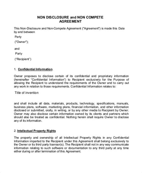non compete non disclosure agreement template non compete agreement 11 free word pdf documents