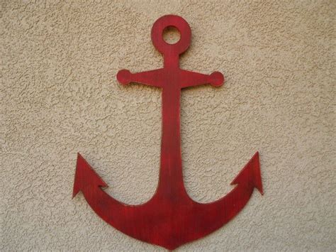 nautical home decor wholesale wooden rustic red wall mounted anchor decoration 30 quot