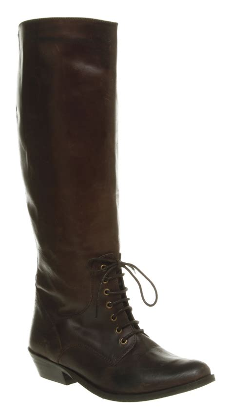 womens office elsa knee high brown leather boots shoes ebay