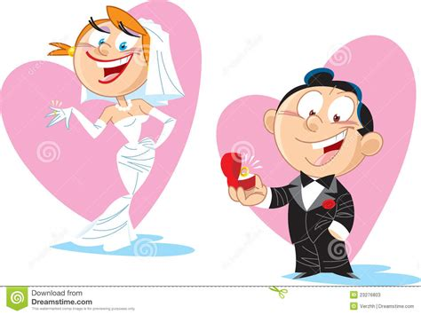 clipart sposi sposa e sposo fumetto illustrazione vettoriale