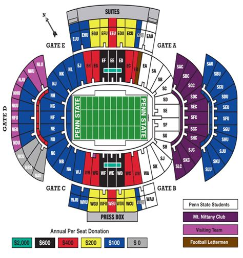 penn state football seating chart penn state official athletic site nittany