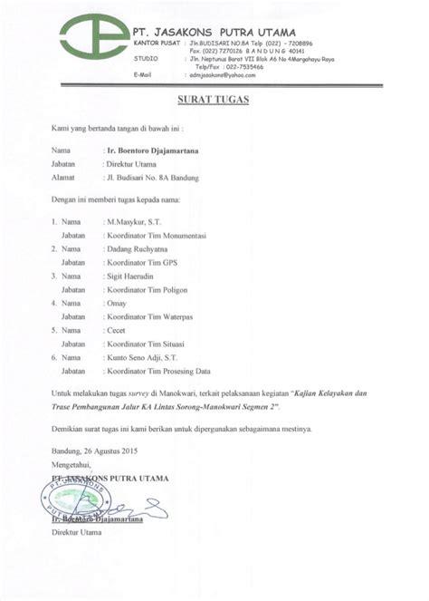 Contoh Surat Tugas by Contoh Surat Tugas Koleksi Dokumentasi Surat Tugas Survey
