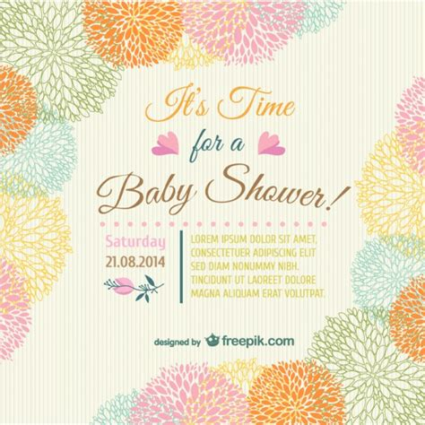 baby shower floral invitation card vector free