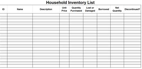 inventory list template printable household inventory list template sle
