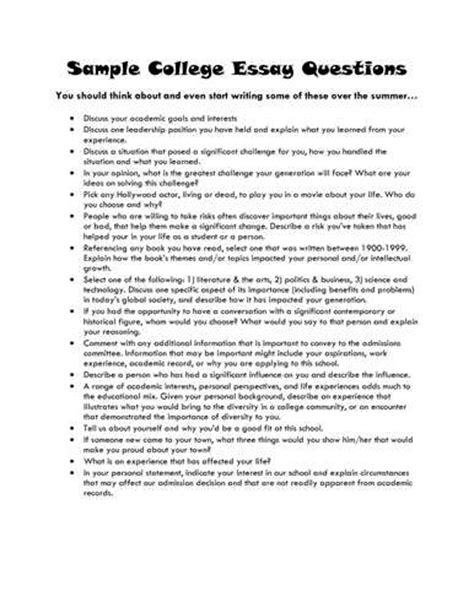 Msu College Application Essay Questions The 6 Best Topics For Your College Application Essay