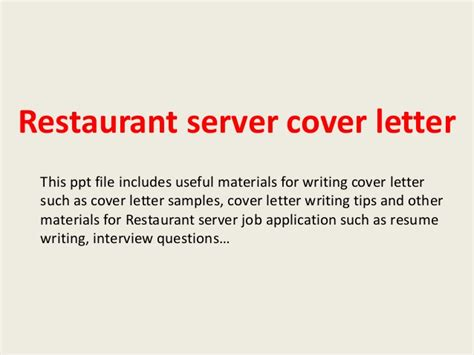 Thank You Letter For Restaurant restaurant server cover letter