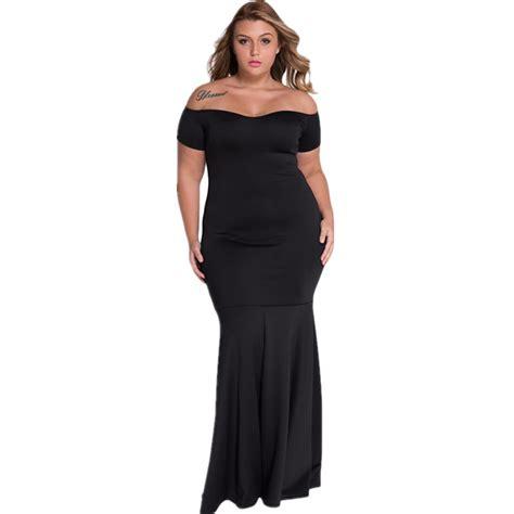 Maxi Tyara Renda Yr cfanny 2016 autumn dress plus size black shoulder fishtail mermaid maxi