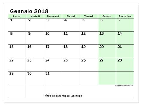 calendario per stare gennaio 2018 nereus 1 italia