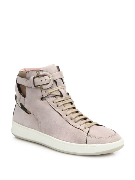 popular high top sneakers lyst burberry folkington suede high top sneakers in pink