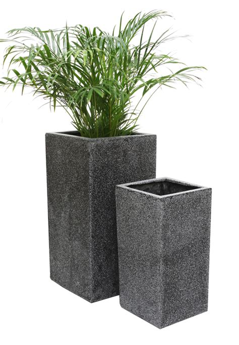 Terrazzo Planters by Black Poly Terrazzo Cube Planter Large H79cm X 40cm 120 Litre