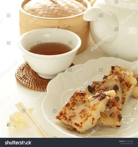 new year food turnip cake new year food turnip cake and tea stock photo