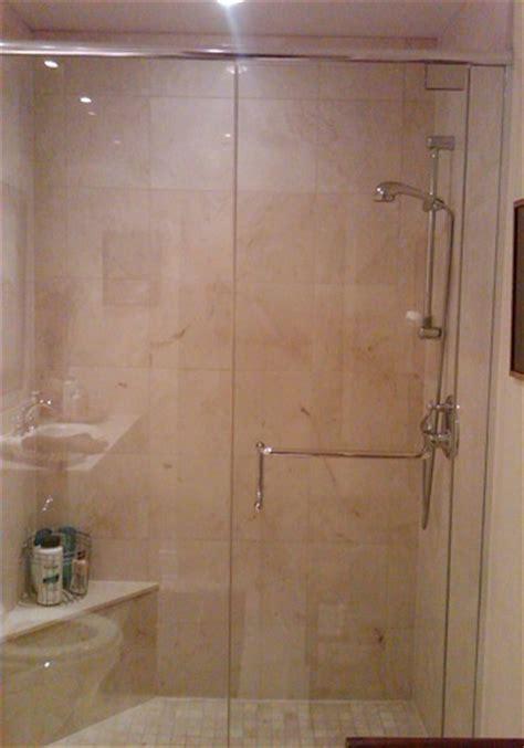 Frameless Shower Door With In Line Panel Artistcraft Com Line Shower Door