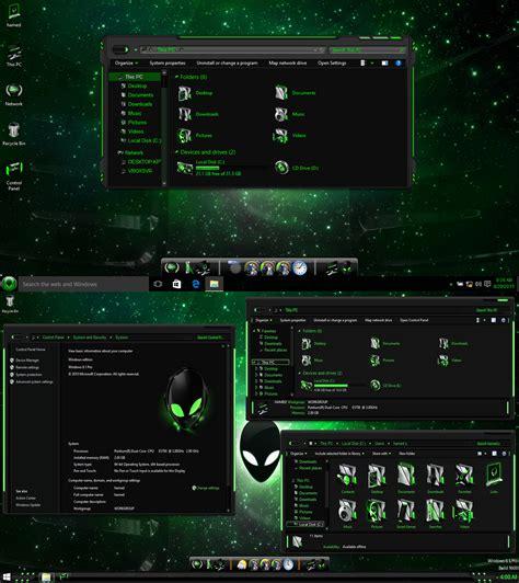 computer themes for windows 10 alien green skinpack for windows 10 rtm cleodesktop