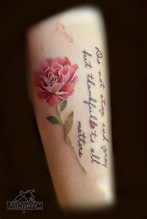 body language tattoo watercolor peony flower with quote by so yeon at