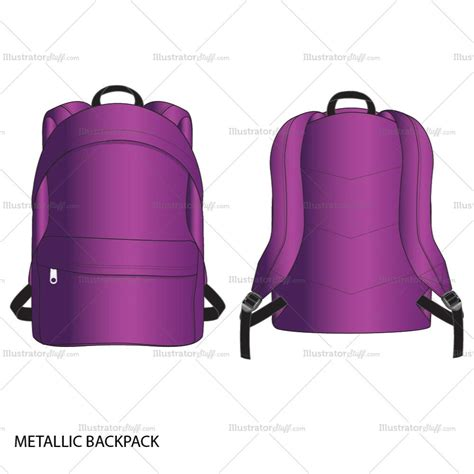 metallic backpack fashion flat template illustrator stuff
