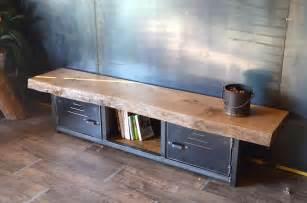 meuble tv industriel en bois massif et m 233 tal micheli design