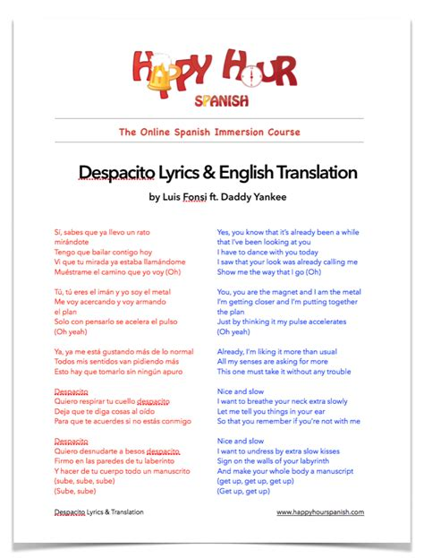 despacito with english lyrics despacito pdf download