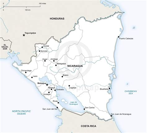 political map of nicaragua vector map of nicaragua political one stop map
