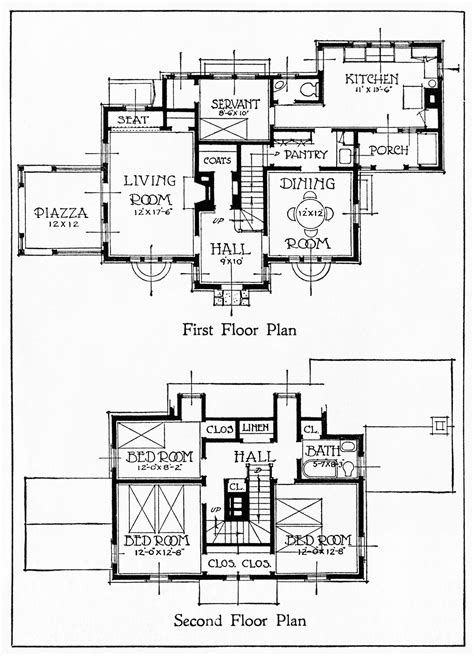 1917 house illustration and floor plans design shop