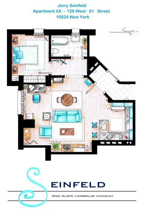 famous apartments hand drawn floor plans of popular tv show apartments and