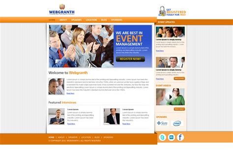 Event Management Website Templates Event Management Psd Template Free Download Psd Website Template Webgranth 2015