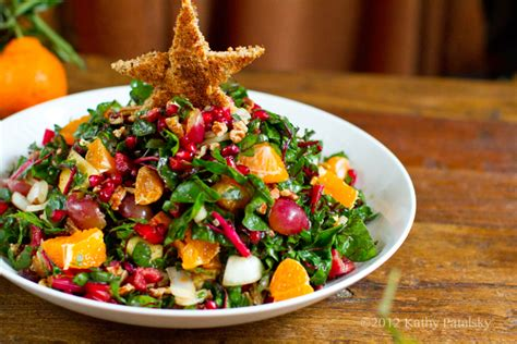christmas tree salad pomegranate pecans raw chard