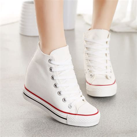 Sepatu Wanita Murah Sepatu Kets Sport Sneakers Wedges High Heels Cewek 1173 8cm high heels 2016 casual canvas shoes platform wedges high top with zippers wedge