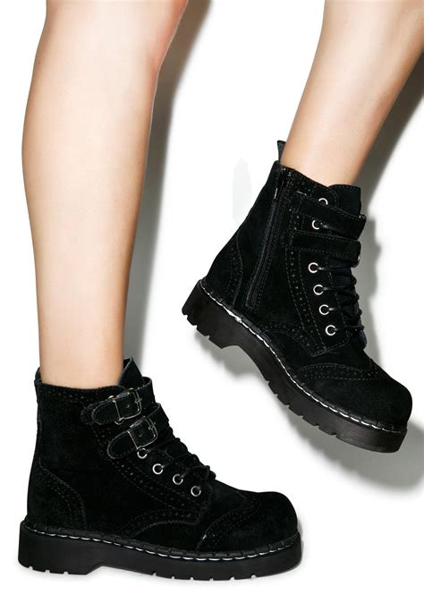 t u k brogue suede ii buckle combat boots dolls kill