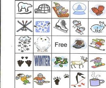 free printable winter board games winter bingo game for preschool or elementary school by