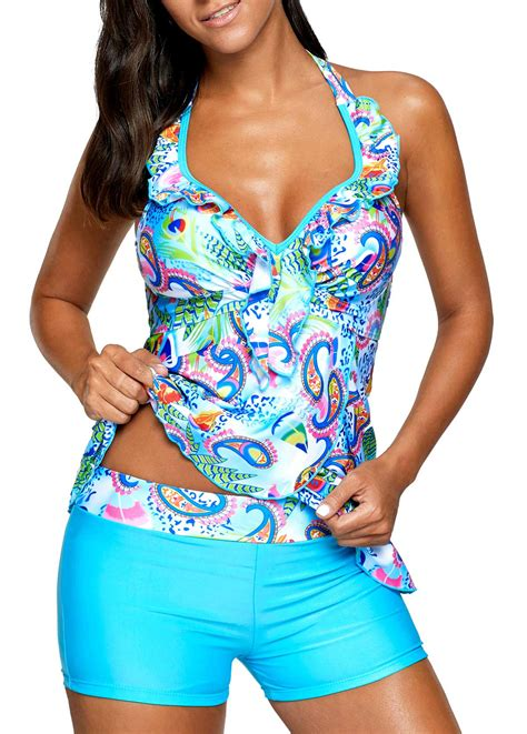 back the blue set of printed blue open back padded tankini set rosewe usd 30 38