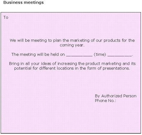 business meeting invitation template sle business