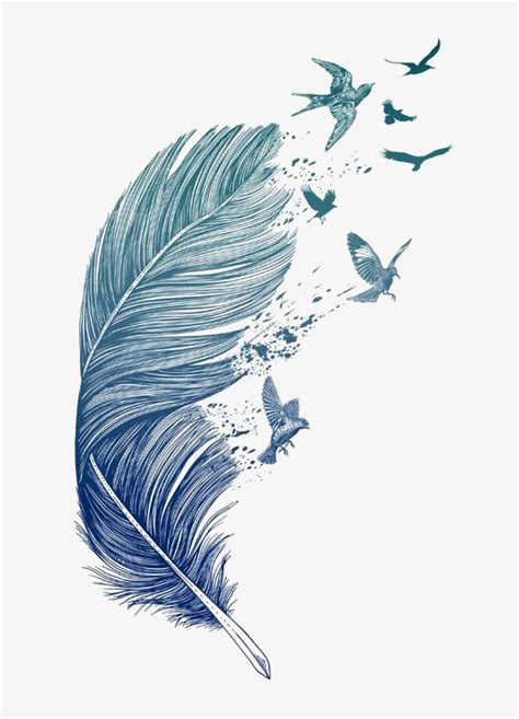 blue feather hand painted feather floating feathers