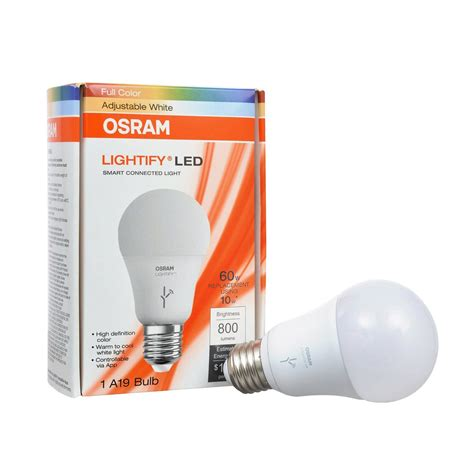 sylvania led lighting products sylvania osram lightify 60w a19 daylight rgb smart led