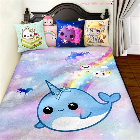 kawaii bed narwhal in the dreamy kingdom cute kawaii fleece blanket
