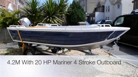 fast outboard boats youtube 4 2m or 14 foot fast alloy fishing boat with mariner